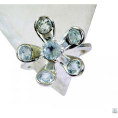 Riyo Knowledgeable Blue Topaz 925 Solid Sterling Silver Blue Ring Srbto8-10079