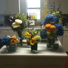 Flower arrangements for a boys baby shower