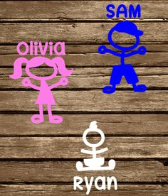 A personal favorite from my Etsy shop https://www.etsy.com/listing/481261996/stick-figure-kid-decal-kid-decal