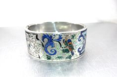 Victorian Silver Enamel Bracelet, Etched Wide Silver Bangle Bracelet, https://www.etsy.com/listing/247904990/victorian-silver-enamel-bracelet-etched?ref=shop_home_active_1&utm_content=bufferb70a1&utm_medium=social&utm_source=pinterest.com&utm_campaign=buffer #vogueteam #etsygifts