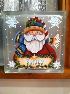 Sharon Murphree Hammond Easy Christmas Decorations, Holiday Crafts, Christmas Ornaments, Christmas Sled, Painted Glass Blocks, Lighted Glass Blocks, Christmas Glass Blocks, Santa Paintings, Glass Cube