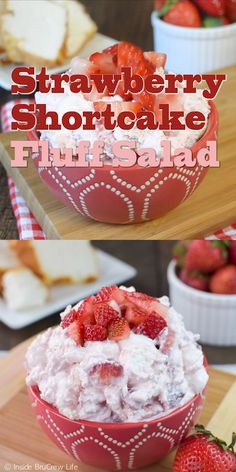 Fresh strawberries and angel food cake add a fun twist to this Strawberry Shortcake Fluff Salad. Fresh strawberries and angel food cake add a fun twist to this Strawberry Shortcake Fluff Salad. Fluff Desserts, Angel Food Cake Desserts, Dessert Salads, Jello Recipes, Fruit Salad Recipes, Köstliche Desserts, Strawberry Recipes, Food Cakes, Delicious Desserts