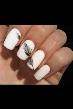Pretty Feather Nail Art Designs And TutorialsNail designs have always been an important dimension of beauty and fashion for women. There are so many tips and ideas to keep their nails looking chi. Black And White Nail Designs, Black And White Nail Art, White Art, Black Glitter, Cute Nails, Pretty Nails, My Nails, Nail Art Blanc, Nail Art Designs