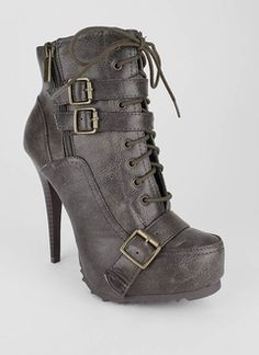 b802f9aef47f leatherette lace up buckle bootie Fashion Heels