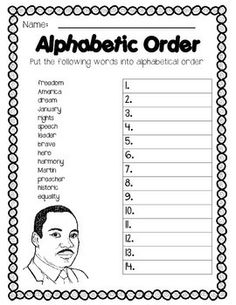 "Martin Luther King Jr. ELA Common Core and More - MLK Themed worksheets including: Alphabetical Order, Synonyms, Writing Paper with prompt, Fact or Opinion, True or False, Dictionary Look-up, Making words from Martin Luther King Jr, and WRISTBAND WATCHES that read: ""The time is always right to do what's right"""