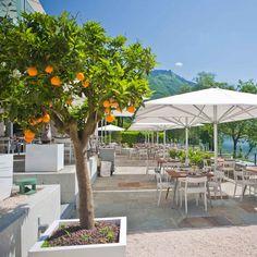Giardino Lago Hotel, Lake Maggiore, Switzerland l Design Hotels Com Restaurant Design, Switzerland, To Go, Patio, Places, Outdoor Decor, Vip, Hotels, Book