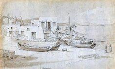 Charles Robert Cockerell. Μύκονος 1810-Bάρκες στο ακρογιάλι.