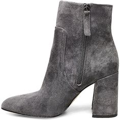 Steve Madden Women's Jaque Booties ($50) ❤ liked on Polyvore featuring shoes, boots, ankle booties, heels, ankle boots, grey suede, block heel boots, block heel bootie, high heel ankle booties and velvet ankle boots