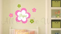 Flower Wall Decals Girls Name Decal by AllOnTheWallVinyl on Etsy