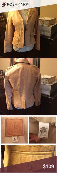 Banana Republic Leather Camel Jacket-Small Banana Republic Leather Camel Jacket-Small  Really great condition overall with a little fading in some spots. One sleeve is missing a button. Measures 23 inches from shoulder to hem. Banana Republic Jackets & Coats
