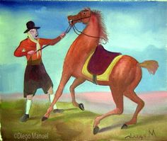 caballo bravo , acrylic on canvas, 28 x 38 cm., 2007 . Pintura en venta de la Serie Gauchos del artista argentino Diego Manuel