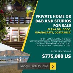 For sale boutique beach hotel located in beautiful Playa del Coco, Costa Rica Beach Hotels, International Airport, B & B, Costa Rica, Acre, Studios, Mornings