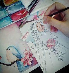 Dallarımdan kuşlar, fırçamdan renkler eksik olmasın :) #watercolour#illustration#suluboya #geceninduası#demhane