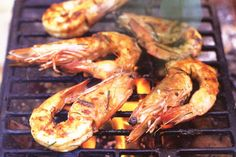 Low-fat barbecued prawns with lime, chilli & coriander main image