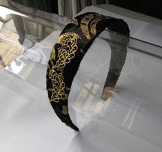 Black and Gold Flower Headband with Metal Leaves for