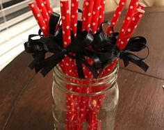 25 Red with White Polka Dot Paper Straws  Mix and Match