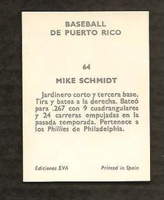 1972 Mike Schmidt Philadelphia Phillies Puerto Rico League Baseball Card Schmidt, Phillies Baseball, Baseball Cards, Puerto Rico, Philadelphia Phillies