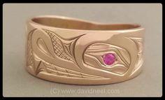 Wolf Ring, 14K gold & ruby.   #northwestNativeIndianArtJewelry www.davidneel.com