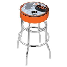 Chrome Philadelphia Flyers Orange Double Ring Swivel Barstool