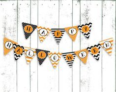 Shop for banner on Etsy, the place to express your creativity through the buying and selling of handmade and vintage goods. Halloween Bunting, Fall Halloween, Halloween Decorations, Flag Garland, Bunting Banner, Flag Banners, Flags, Spooky Decor, Printable Banner