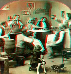 Here an Anaglyph conversion of an 1887 photograph of an Irish wake. 3d Pictures, 3d Glasses, 3d Photo, Red And Blue, Red Green, Celtic, Illustration, Poster, Rest