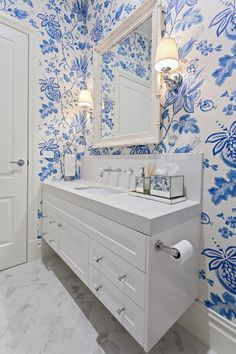Beautiful blue wallpaper to compliment this white designer bathroom. Blue Wallpapers, Powder Room, Double Vanity, Bathrooms, Cabinet, Luxury, Creative, Beautiful, Design