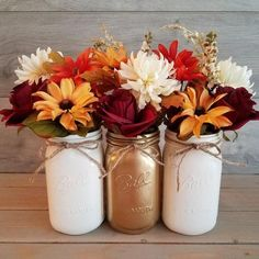 Fall Mason Jar Centerpiece/Fall Decor/Fall Home Decor/Painted Mason Jars/Farmhouse Decor/Fall Center