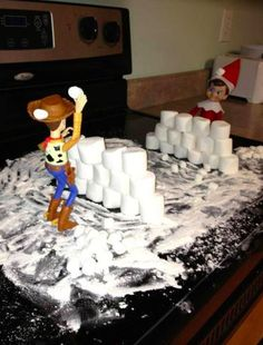 New Cost-Free 20 Fun Elf on a Shelf Ideas Concepts Elf on the shelf marshmall., Cost-Free 20 Fun Elf on a Shelf Ideas Concepts Elf on the shelf marshmallow idea with woody from toystory – snowball fight! See more elf ideas h Merry Christmas, Christmas Elf, Christmas Crafts, Christmas Decorations, Funny Christmas, White Christmas, L Elf, Awesome Elf On The Shelf Ideas, Elf On The Shelf Ideas For Toddlers
