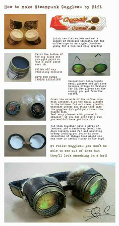 Making steampunk goggles. Or skip a few steps and make normal goggles for cospla… Making steampunk goggles. Or skip a few steps and make normal goggles for cosplay Steampunk Cosplay, Mode Steampunk, Style Steampunk, Steampunk Crafts, Steampunk Goggles, Steampunk Fashion, Fashion Goth, Steampunk Kids, Steampunk Animals
