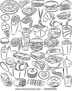 vector illustration of fast food collection in black and white by mahmuttibet, via Shutterstock