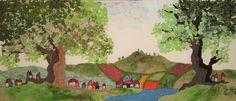 Genähte Phantasielandschaft, 30 x 70 cm
