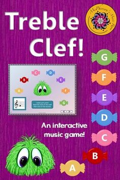 This interactive music game working on reading the notes on the Treble Clef staff will have your music students giggling and begging to play it again! Perfect for the elementary music classroom, music centers and music sub tub! Music Education Games, Music Activities, Music Games, Fun Music, Music Mix, Music Classroom, Music Teachers, Classroom Ideas, Classroom Activities