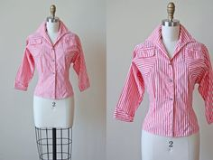 1950s Blouse - Vintage 50s Top - Red Ticking Stripe Tailored Cotton Shirt w Bust Pockets S M - Strawberry Fields Blouse