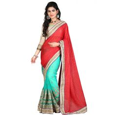Sensational Red Color Party wear & Designer Saree at just Rs.2999/- on www.vendorvilla.com. Cash on Delivery, Easy Returns, Lowest Price.