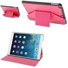 For+iPad+Air+Multi-folding+Magenta+Cross+Leather+Case+with+Sleep+/+Wake-up+Function+&+Holder