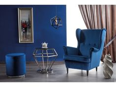 #homedecor #interiordesign #inspiration #blue #velvet #decoration #design Rolex, Blue Velvet, Wingback Chair, Decoration, Home Furniture, Minimalism, Home Goods, Accent Chairs, Living Room
