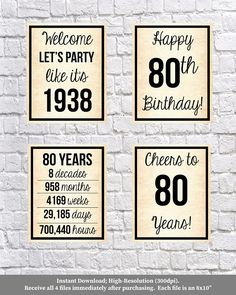 CLICK THIS LINK FOR MORE 80TH BIRTHDAY PRINTS: https://www.etsy.com/shop/JCDigitalDesign?ref=seller-platform-mcnav&section_id=22440179 *** INSTANT DOWNLOAD **** *** PLEASE NOTE: No physical item will be sent; this purchase is only for the digital file(s). CANNOT be modified on your