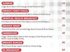 Mikes Kitchen Lambton - Breakfast Menu Breakfast Menu, Health Breakfast, Golden Syrup, Muesli, Fruit Salad, Kitchen, Cucina, Cooking, Eat Clean Breakfast