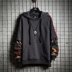 Best Offer of Camouflage Hip Hop Men Hoodie Autumn Cotton Black Male Sweatshirt Tops Soft Grey Hooded Pullovers Harajuku Loose Streetwear Co. Hipster Outfits, Emo Outfits, Summer Outfits, Hoodie Sweatshirts, Street Style Vans, Streetwear, Japanese Fashion, Japanese Male, Look Cool