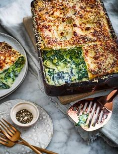 Vegetarian Lasagna Recipe for kale, ricotta and leek lasagne Try our vegetarian alternative to this classic family dish, lasagne. With layers of greens and fresh pesto this kale, ricotta and leek lasagne is low in calories and super easy to whip up, a great midweek meal