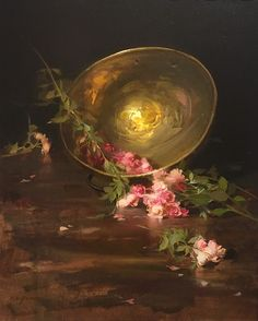 Artist: Sherrie McGraw - Title: Faerie Roses and Brass Bowl