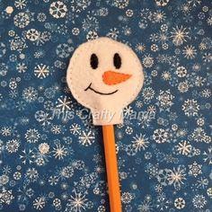 Snowman Pencil Topper  Felt Snowman Pencil by ThisCraftyMama