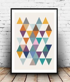 Triangles print, Scandinavian print, Abstract art, Office decor, Mid century modern, Modern art, Minimalist print, Colorful print, Cute art by Wallzilla on Etsy https://www.etsy.com/listing/219432819/triangles-print-scandinavian-print