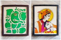 Beautiful lord Ganesha and lord Krishna-Raade glass painting done on OHP sheet.