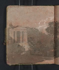 Joseph Mallord William Turner 'Copy after Richard Wilson: The Temple of Clitumnus', 1796–7 - Gouache, graphite and watercolour on paper -  Dimensions Support: 113 x 93 mm -  Collection -  Tate