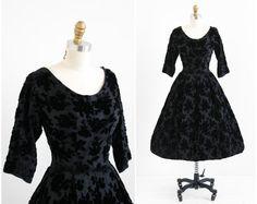 vintage 1950s dress / 50s dress / Black Silk and Velvet Embossed Floral Cocktail Dress