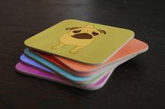 Modern Pug illustrated coasters x 6