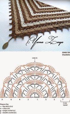 "Crochet shawl with chart. ""Delightful baktus Tiramisu hook \\/ Knitting as art!"", ""Crochet shawl with chart. Crochet Bolero, Crochet Shawl Diagram, Crochet Shawls And Wraps, Crochet Poncho, Crochet Chart, Love Crochet, Crochet Scarves, Crochet Motif, Crochet Lace"