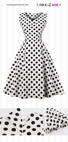 With good basics, you'll have endless options! Get this classic black and white polka dot #retroinspired dress at AtomicJaneClothing.com Rockabilly Style, Rockabilly Fashion, Polka Dot Print, Polka Dots, 1950s Clothes, 1950s Outfits, Pin Up Style, Homecoming Dresses, Ball Gowns