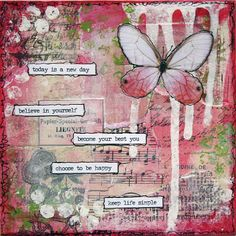 Nature Scrapbook Tendance: Inspiration mixed media Butterflies & hearts symbols the soul and change and love. this is a wonderful collage. Mixed Media Artwork, Mixed Media Canvas, Mixed Media Collage, Kunstjournal Inspiration, Art Journal Inspiration, Journal Ideas, Mix Media, Art Journal Pages, Art Journals